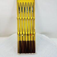 Set of 6 Stainless Steel Fondue Forks - Wood handles UNUSED  Teak or Walnut ?