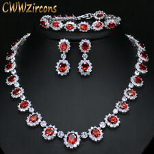 CWWZircons Round CZ Big Bridal Red Necklace Earrings Bracelet Sets Jewelry Gift