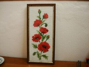 TAPESTRY PICTURE JUST POPPIES HAND EMBROIDERED WOOL POPPIRS  -FRAMED