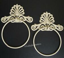 2 Antique White Bath Room Hand Towel Holder Distressed Cast Iron Metal Wall Ring