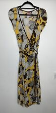 Miss Sixty Wrap Style Jersey Dress Size M Mustard Brown Floral 70s Vibe