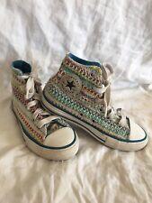 CONVERSE unique boho hippie rainbow All Star High Top shoe Kids Size 13 EUC