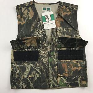 Game Hunter Boys Youth L 14/16 Hunting Vest Camo Mossy Oak Hiking Vintage