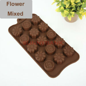 Flower Mixed Silicone Chocolate Cake Decor Moulds Ice Tray Candy Cookie Baking