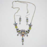 lia sophia jewelry set vintage silver plated cut crystals stud earrings necklace