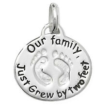 Sterling Silver Our Family Just Grew By 2 feet Pendant new baby / Mum