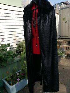 black cloak cape with hood crushed velvet,  (p15)
