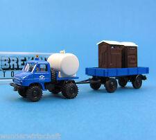 Brekina h0 39105 Unimog U 411 réservoir + Ah WC-Toilettes A. rupture neuf dans sa boîte HO 1:87 Box fête foraine