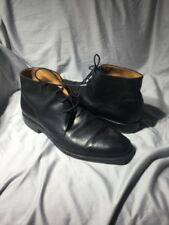 RALPH LAUREN Black Leather Mens Chukka Ankle Shoes Boots Italy 10.5 D
