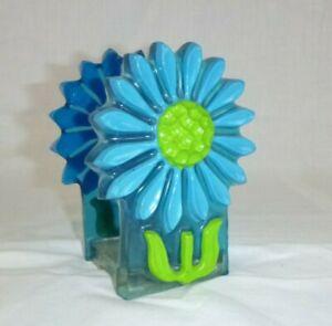 Vtg 1968 Crystal Craft Lucite Resin Napkin Letter Holder MOD Aqua Green Daisy