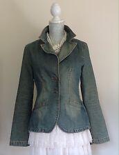 ZARA TRF Denim Vintage Dirty Blue Wash Effect Denim Jacket Size L UK 10/12