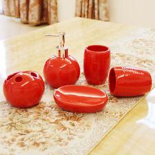 5pcs Bathroom Accessories Set Soap Dish Dispenser Toothbrush Holder, Ceramic Red