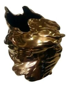 """Vtg Metallic Brown Copper Finish Abstract Ceramic 10"""" Tall Wind & Water Vase"""