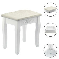 White Vanity Wave Design Makeup Dressing Stool Pad Cushioned Chair Piano Seat