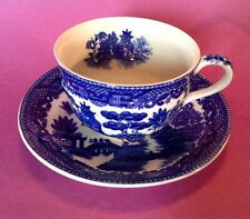 Blue Willow Tea Cup And Saucer With Inside Decoration - Japan