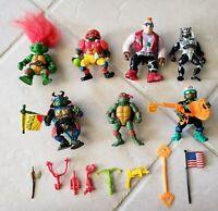 Vintage TMNT Teenage Mutant Ninja Turtles Action Figures LotOf 7, Accessories