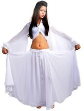 WHITE Halloween Belly Dance Costume Set for Gypsy Tribal ATS Dance (Skirt+Top)
