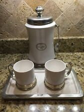 ARTE ITALICA Italian Pewter and Porcelain Caffe Canister, Tray & 2 Coffee Mugs