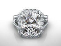 5 CARATS DIAMOND HALO RING ESTATE SPLIT SHANK RADIANT SHAPE 18K WHITE GOLD