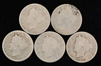 Lot of 5 Coins 5c Liberty Head V Nickels - Better Dates - SKU-Y1119