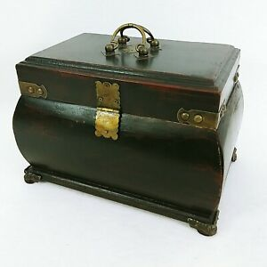 Storage Box Wood Lined Hinged Lid Metal Detailing Closure Clasp Padded Feet