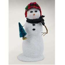 Byers' Choice Large Snowman, Plaid Hat & Tree (Sn3173)