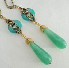Art Deco Art Nouveau nupcial Pendientes Verde De Jade
