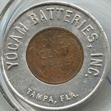 1951 D Yocam Batteries - Encased Cent - Good Luck - Tampa, Fl - Lot # Ec 3167