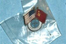 AEROFLOT PAN AM AIRLINES RUSSIA USA DOUBLE 2 USSR FLAG UNIFORM SERVICE PIN NEW