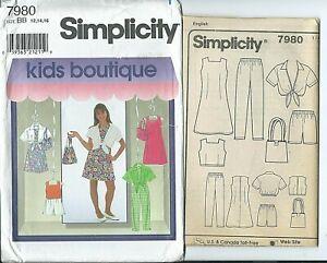 S 7980 sewing pattern DRESS TOP PANTS SHORTS SHIRT BAG sew girls' 12,14,16 UNCUT