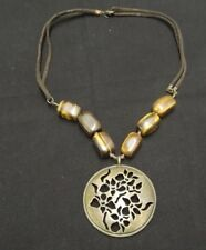 AVON BRASS & STONE TIGERS EYE PENDANT NECKLACE W/BROWN SUEDE CORD