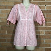 Ann Taylor Loft top blouse shirt size small peasant style Pink Floral -D