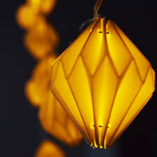 10 LED White Diamond Shaped Origami Paper Lantern String Light, 5.5 FT, Battery