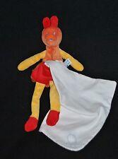 Doudou Kangourou Orange Rouge SUCRE D'ORGE Cajou Cheval Ane Mouchoir Blanc TTBE