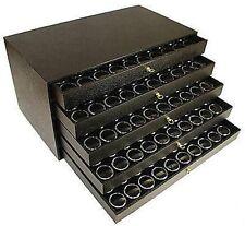 250 Gem Jar Case 5 Drawer Nugget Black Display Organizer Coin Storage Cabinet