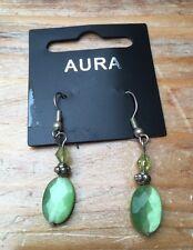 Pretty Green Frosted Glass Earrings/Pierced/Droplet/Dainty/Hippy/Boho/New!