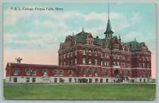 Fergus Falls Minnesota~PRL College~Students Gathered Outside~c1910 Postcard