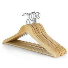 Hangerworld™ 10 Natural 45cm Wooden Clothes Suit Hangers Non Slip Trouser Bar