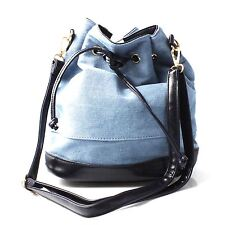 Ladies Denim Bucket Bag with Black Faux Leather Lining