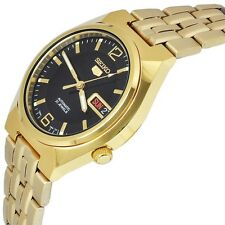 New SEIKO-5 SNKL66K1 Sport Gold Tone Black Dial Automatic 21 Jewels Men's Watch