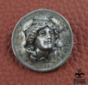 """1907 US 50c Silver Coin, Barber Half Dollar """"Liberty 3-D Punch-Out"""" Brooch/Pin"""