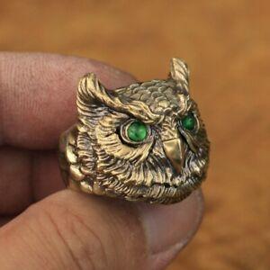 LINSION Green CZ Eyes Details Brass Owl Ring Mens Biker Punk Ring BR261A