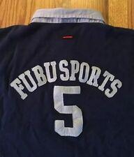 VINTAGE Fubu Sport Sports 05 Sz XL 90s Blue Rugby Polo Jersey Rap Hip Hop Rare