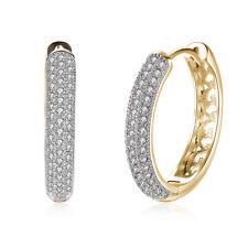 Women 18K Yellow Gold Crystal Buckle Hoop Huggie Earrings Valentine's Day Gift