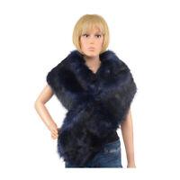 Navy Faux Fur Neck Head Scarf Hijab 100% Polyester Acessories Shawl Wrap