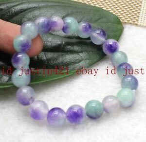 Natural 8mm 10mm 12mm Multicolor Kunzite Round Gemstone Beads Bracelet 7.5'' AAA