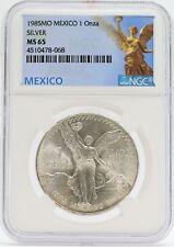 1985 Mexico Libertad Silver 1 oz Onza NGC MS65 Coin Moneda de Plata - JD512