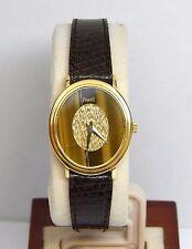 Piaget 18KT Yellow Gold Brown Lizard Band Tiger's Eye Dial Watch 1970 Ref: 9821