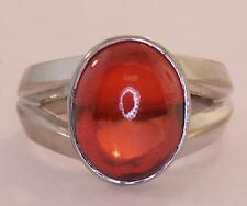 18k white gold orange lab created orange sapphire cabochon 13x10mm ring 8.7g