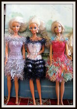 3 ROBES DE BARBIE ALERTE A MALIBU UNIQUES FAITES MAIN COFFRET  pop  COLLECTION